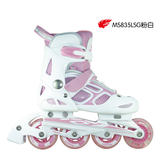 美洲狮溜冰鞋儿童可调直排轮滑旱冰鞋水立方系列MS835L-SG粉白