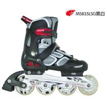 美洲獅溜冰鞋兒童可調直排輪滑旱冰鞋水立方系列MS835L-SG黑白