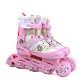 美洲狮 溜冰鞋儿童全套装 直排可调轮滑鞋旱冰鞋MS707P粉色