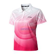KAWASAKI川崎ST-13290女款 羽毛球服 印花T恤 粉色款