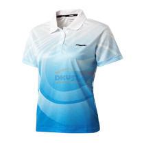 川崎ST-13290女款专业印花笔袋T恤羽毛球服 天蓝色