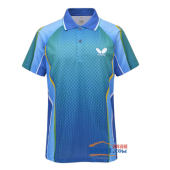 蝴蝶 TBC-BHW-258-0304乒乓球T恤 蓝绿款 2013新款