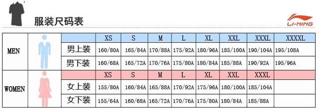 李宁衣服尺码对照表