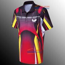 新款蝴蝶 BHW259-0201炫彩乒乓球運動短袖 深紅黃色