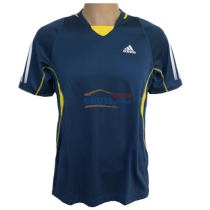 ADIDAS阿迪达斯 Z12717 深蓝/鲜黄 乒乓球短袖球服