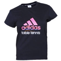 ADIDAS 阿迪达斯 女款纯棉乒乓球T桖衫 短袖 AGM-13102 黑/桃红款