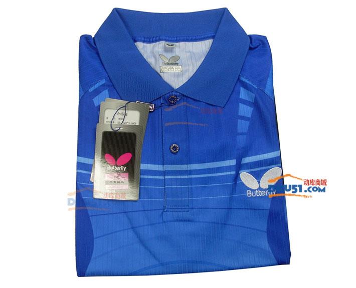 蝴蝶BUTTERFLY 新款炫彩乒乓球T恤 BHW259-0314 彩蓝黑色