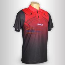 JOOLA优拉 心花怒放683 黑红色乒乓球短袖(莱卡纤维布材质)
