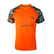 李宁 AAYK341 乒乓球运动服 乒超联赛男款T恤 橘色款