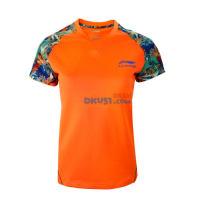 李宁乒超联赛女款乒乓球运动服 AAYK266-1T恤 橘色款