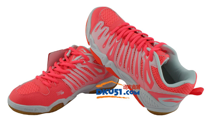 LINING 李宁 AYAJ028-2 女款荧光柔橙/白色羽毛球鞋
