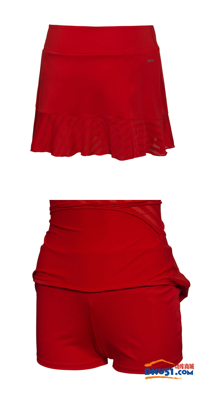 李寧 ASKL042-7 女款羽毛球褲裙 國旗紅