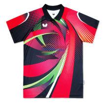 2016新款蝴蝶 BWH-268-0201 男女款乒乓球服(黑红款)