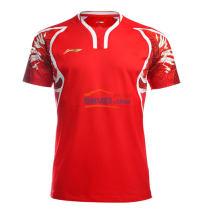 李寧2016里約奧運會羽毛球服 男款AAYL131-1 火焰紅色