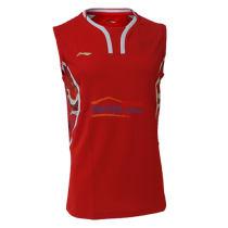李寧 AVSL045-1 里約奧運國家隊男款無袖背心羽毛球服 紅色