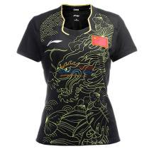 李宁女款2016里约奥运乒乓球龙服 AAYL128-2 乒乓球短袖 黑色款