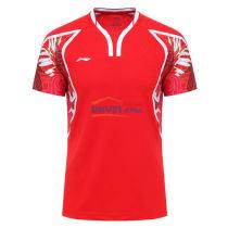 李寧AAYL121-1 焰紅款 羽毛球服 奧運會羽毛球服TD版
