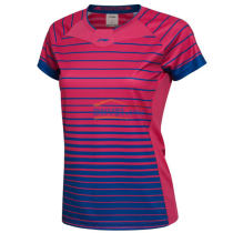 李寧 AAYL038-5 女款羽毛球 比賽上衣 羽毛球服 甜菜紅